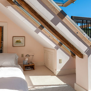 ボストンのトランジショナルスタイルの寝室の画像 (ピンクの壁、カーペット敷き)