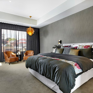 Inspiration for a contemporary master bedroom in Melbourne with grey walls, carpet and grey floor.