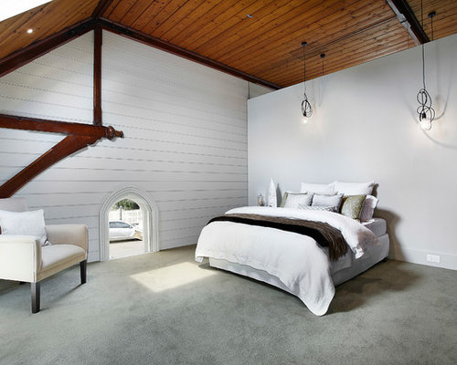Large contemporary carpeted and gray floor bedroom idea in Melbourne with  white walls
