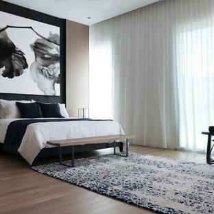 Imagen de dormitorio contemporáneo, grande, con suelo de madera en tonos medios