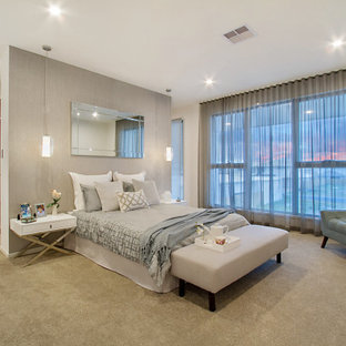 Large contemporary master bedroom in Gold Coast - Tweed with grey walls, carpet and grey floor.