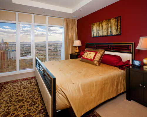 Best Gold Bedroom with Red Walls Design Ideas & Remodel Pictures ...