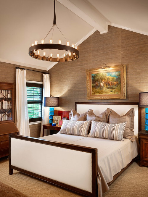 Nice Example Of A Trendy Bedroom Design In Austin With Beige Walls