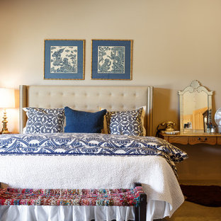 Country master carpeted bedroom photo in Albuquerque with beige walls