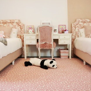 Design ideas for a mid-sized shabby-chic style bedroom in Los Angeles with white walls, carpet and pink floor.