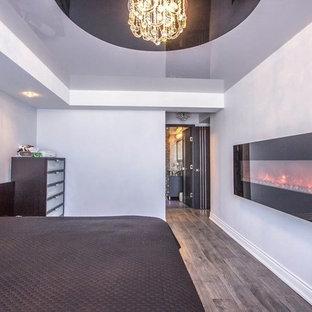 Foto di una camera matrimoniale moderna di medie dimensioni con pareti bianche, pavimento in legno massello medio, camino lineare Ribbon e cornice del camino in metallo