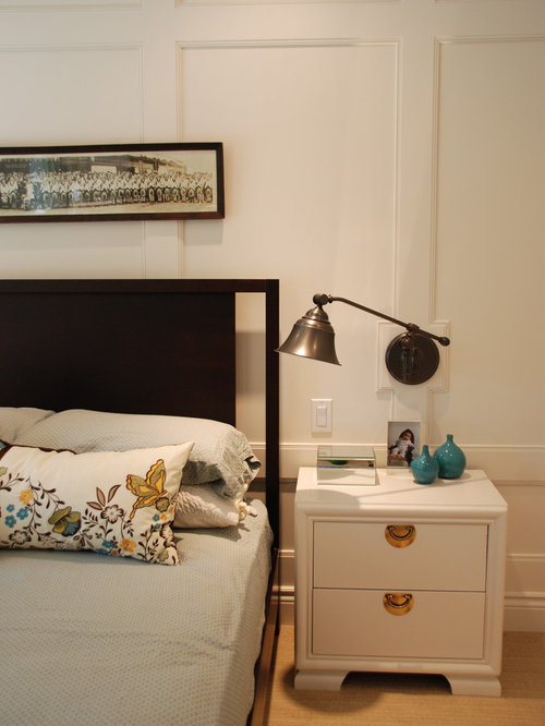Contemporary master bedroom idea in Toronto with white walls. Bedroom Wall Panels   Houzz