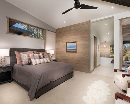 large mountain style master carpeted and beige floor bedroom photo in sacramento with gray walls - Bedroom Floor Carpet