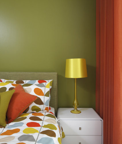 Green And Orange Bedrooms Home Design Ideas, Pictures