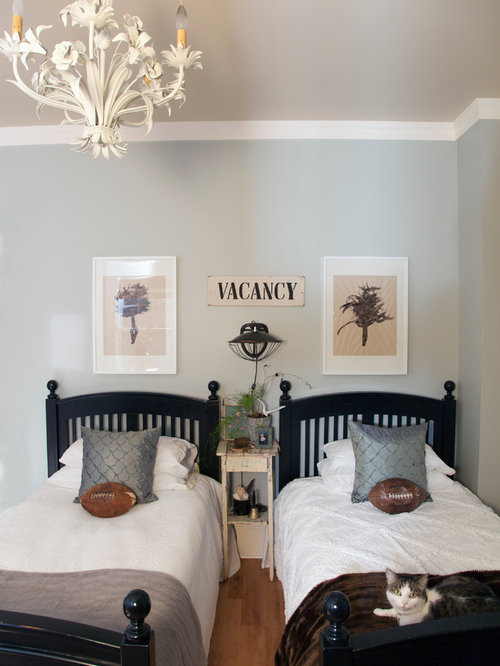 eclectic bedroom photo in portland with blue walls - Bedroom Walls Color
