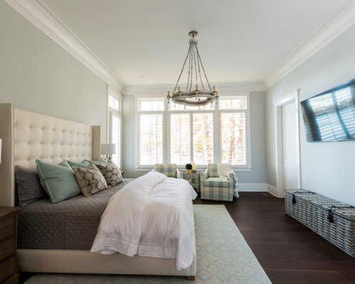 Attirant Example Of A Coastal Dark Wood Floor And Brown Floor Bedroom Design In  Charlotte With Blue
