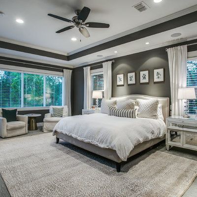 Bedroom - large transitional master carpeted and gray floor bedroom idea in Dallas with gray walls and no fireplace