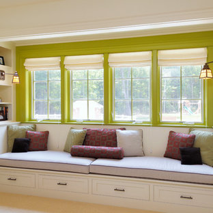 Bedroom - traditional carpeted bedroom idea in Boston with white walls