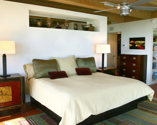Example of a mid sized asian master terra cotta floor bedroom design in  Denver. Asian Furniture   Houzz