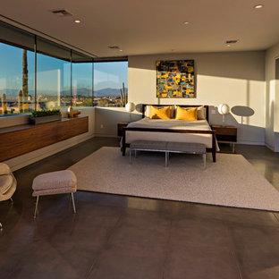 Ejemplo de dormitorio principal, actual, grande, sin chimenea, con paredes blancas, suelo de cemento y suelo gris