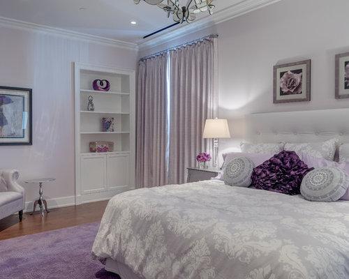 Example Of A Large Classic Master Medium Tone Wood Floor Bedroom Design In  Philadelphia With Purple