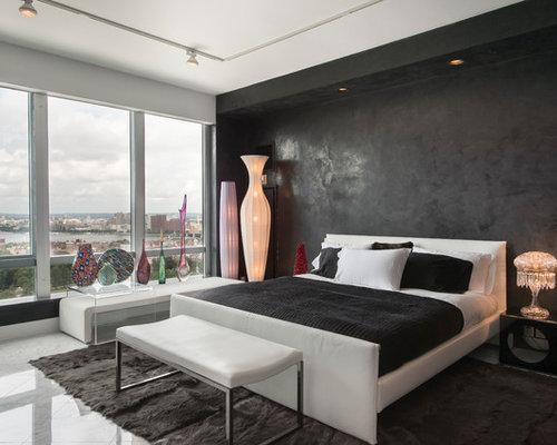 Chambre avec un sol en marbre et un mur noir : Photos et idées ...