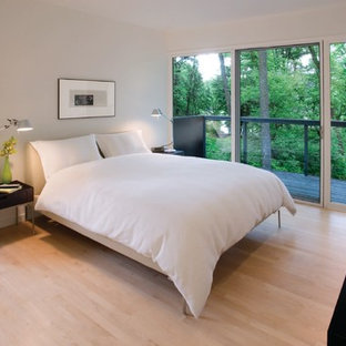 Large contemporary master bedroom in Other with white walls and light hardwood floors.