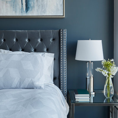 Mid-sized trendy master medium tone wood floor and gray floor bedroom photo in Chicago with blue walls