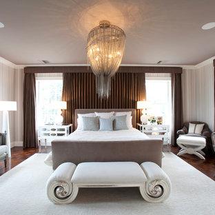 Example Of A Transitional Dark Wood Floor Bedroom Design In Houston With  Beige Walls