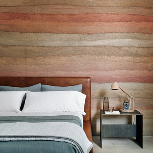 Bedroom - southwestern limestone floor and gray floor bedroom idea in Other with multicolored walls