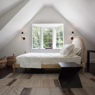 Bedroom - farmhouse dark wood floor bedroom idea in Philadelphia with white walls