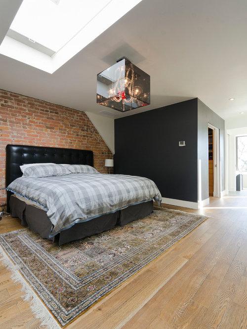 Contemporary Light Wood Floor Bedroom Idea In Toronto With Multicolored  Walls