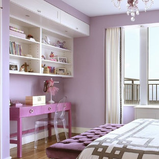 Bedroom - mid-sized transitional guest medium tone wood floor bedroom idea in New York with purple walls