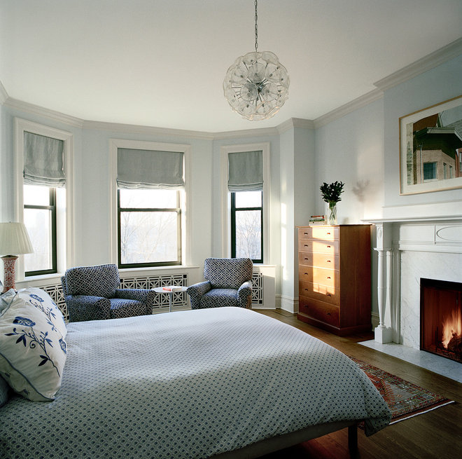 Transitional Bedroom by Notis Design