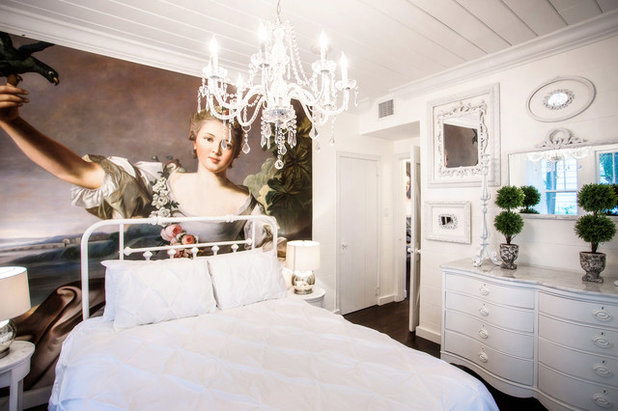 Room Of The Day: French Wall Mural Dazzles In A Chic Bedroom