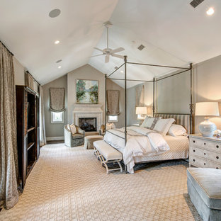 French country master medium tone wood floor bedroom photo in Houston with gray walls