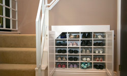 Robeson Design Shoe Storage Solutions using Space Below a Staircase