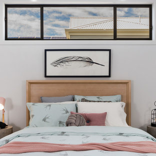 Design ideas for a contemporary bedroom in Brisbane with white walls.
