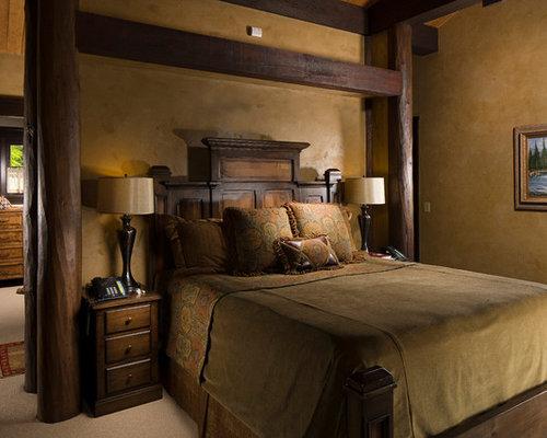 chambre montagne avec un mur jaune photos et id es d co de chambres. Black Bedroom Furniture Sets. Home Design Ideas