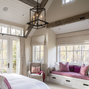 Large country master carpeted, beige floor and wood ceiling bedroom photo in Seattle with beige walls