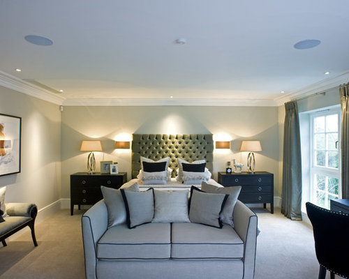 Amazing Example Of A Transitional Carpeted Bedroom Design In London With Gray Walls
