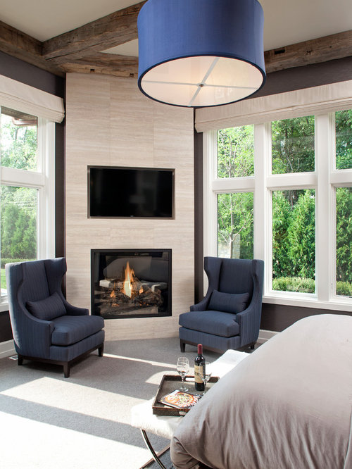 34 018 corner fireplace with tv above home design design ideas remodel pictures houzz Master bedroom ideas houzz