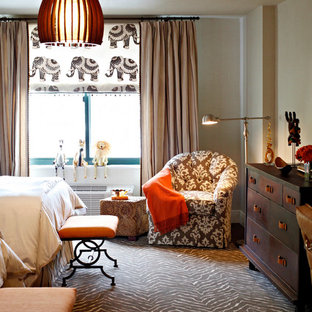 Bedroom - large eclectic master carpeted bedroom idea in New York with beige walls and no fireplace