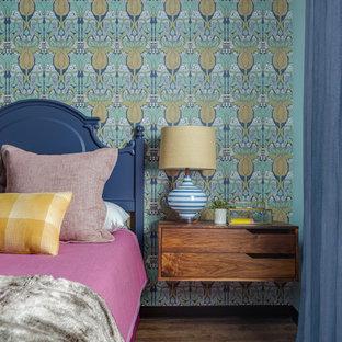 Bedroom - mid-sized eclectic guest dark wood floor bedroom idea in San Francisco with blue walls