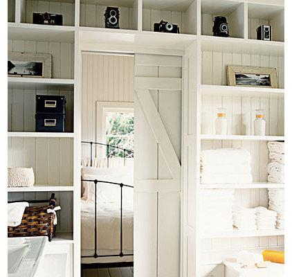 Traditional Bedroom room dividers, pocket door, barn doors, open shelving storage, bedrooms, white