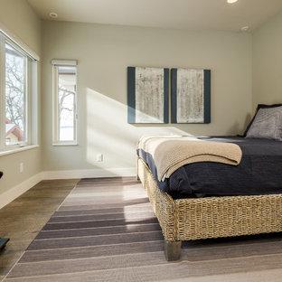 Bedroom - transitional guest brown floor and medium tone wood floor bedroom idea in Other with beige walls