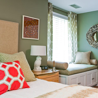 Mid-sized transitional master carpeted bedroom photo in Boston with green walls and no fireplace