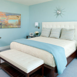 Inspiration for a large contemporary master carpeted bedroom remodel in Other with blue walls