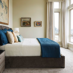 Inspiration For A Transitional Carpeted And Gray Floor Bedroom Remodel In  San Francisco With Beige Walls