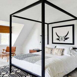 Immagine di una camera degli ospiti american style con pareti bianche