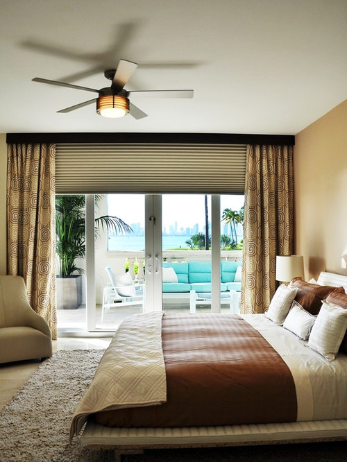 Trendy Bedroom Photo In Miami With Beige Walls