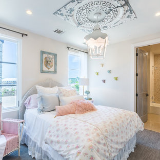 Inspiration for a shabby-chic style carpeted and gray floor bedroom remodel in Austin with beige walls