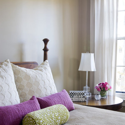 Eclectic bedroom photo in Boston with white walls