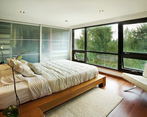 example of a minimalist medium tone wood floor bedroom design in denver with beige walls