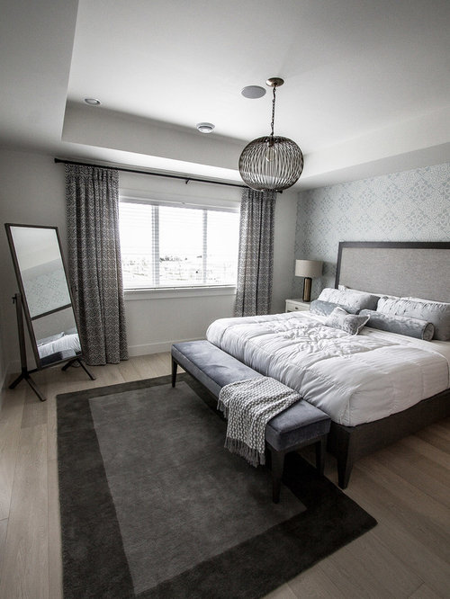 Beau Example Of A Mid Sized Transitional Master Light Wood Floor And Gray Floor  Bedroom Design
